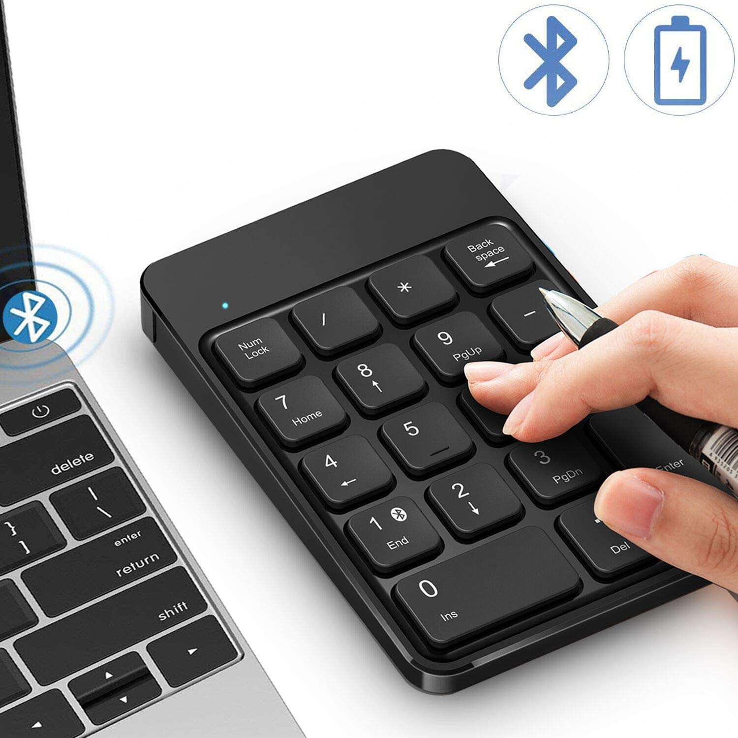 dd44f309f9a Bluetooth Number Pad, Wireless Numeric Keypad - Lekvey Rechargeable Slim  18-Key Number Keypad Keyboard Compatible for MacBook, iMac, OS, Windows,  Laptop, ...